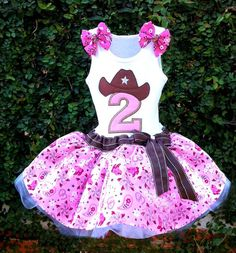 Pink Cowgirl western tutu birthday dress by HappyLittleRy on Etsy, $80.00