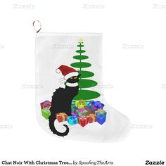#LeChat Noir With #Christmas Tree and Gifts #ChristmasStocking by #SpoofingTheArts #Zazzle #Gravityx9 Designs