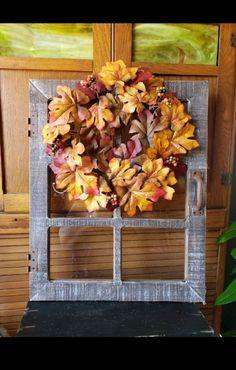 Farmhouse rustic window frame/wreath on Mercari Rustic Window Frame, Window Frames, Fall Wood Signs, 16x20 Frame, Frame Wreath, Rustic Farmhouse, Decorative Items, Vintage Inspired, Wreaths