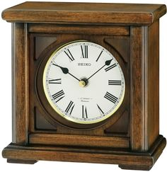 Wood Frame Desk Clock Office Table Accent Decor Living Room Collectible Display #Seiko