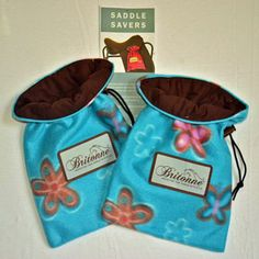 Sea Garden Saddle Savers with chocolate fabric lining