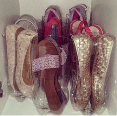 To keep shoes out of the way but still visible, cut the tops off of plastic…
