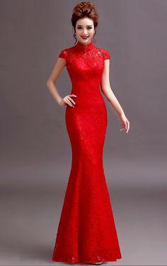 Elegant Red Lace Mermaid Bodycon Chinese Wedding Dress - iDreamMart.com