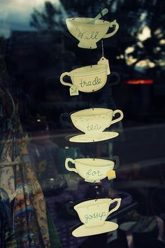 Project 21. Tea cup drawings + chains = something to hang by the window or inside the kitchen.