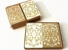 Vintage Bridge Double Deck Playing Cards Gold White Filigree Hearts by Lord & Taylor by ThriftyTheresa