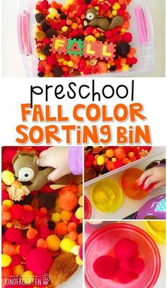 We LOVE this fall color sorting sensory bin. Work on math, fine motor, and problem solving skills with a fun fall theme. Great for tot school, preschool, or even kindergarten! Fall Sensory Bin, Sensory Bins, Sensory Play, Sensory Boards, Sensory Table, Sensory Bottles, Preschool Lessons, Preschool Learning, Learning Activities