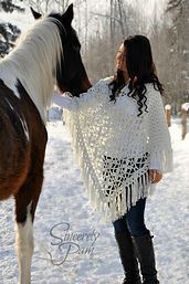 Butterfly Breeze Poncho by Sincerely Pam using Red Heart With Love.