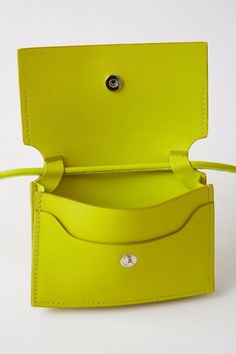 Acne Studios - Coin purse Lime green Acne Studios Big coin purse lime green features a smooth leather construction with a necklace strap and accented with a silver stamped logo on the front. Cheap Purses, Cheap Handbags, Cheap Bags, Purses And Handbags, Leather Handbags, Luxury Handbags, Prada Purses, Stylish Handbags, Guess Handbags