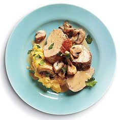 Pork Tenderloin with Mushroom Sauce   Serve this pork recipe with stone-ground yellow grits to soak up the tangy, creamy sauce that's made with creme fraiche and Dijon mustard.
