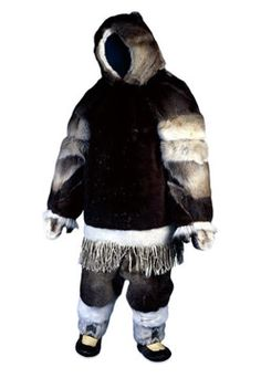 "Inuit man's winter clothing (historic). ""Men and women generally wore similar clothing to one another. In the winter they wore layers of boots, trousers, parkas with hoods, and mittens."" Caption from link"