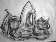 Pencil Sketch Drawing, Pencil Art Drawings, Art Drawings Sketches, Drawing Eyes, Still Life Sketch, Still Life Drawing, Still Life Art, Drawing Apple, Egyptian Drawings
