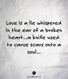 Love is a lie whispered in the ear of a broken heart...a knife used to carve scars onto a soul...