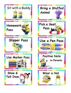 FREE Minion themed reward tickets to use within the classroom. They all include things kids can use or bring to school at no cost to the teacher! This works great in conjunction with Class Dojo.