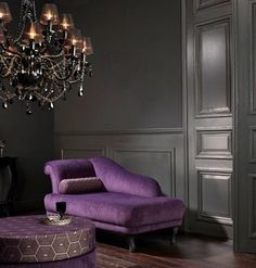 purple and gray.. This would work for an upstairs bedroom, maybe in Nashville for a friend?? Perhaps a slight wash of tarnished silver over the grey walls as well, on the accent wall behind the bed??