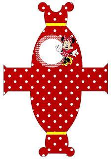 Minnie Dress  Cajas para imprimir gratis de Minnie Mouse, en rojo.