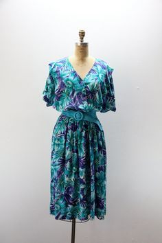 Plus Size Vintage Dress Blue and Purple by SIZEisJUSTaNUMBER, $44.00