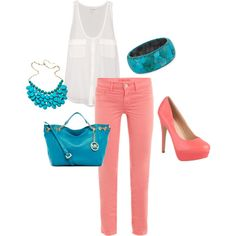 """coral and turquoise!"" by paulette-lanni on Polyvore"
