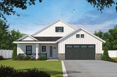 This modern farmhouse style house plan features an efficient layout that feels modern and cool. Use code GETSOCIAL for $50 off $500 or more.