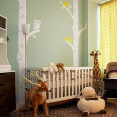 "Add the perfect finishing touch to your baby's nursery with this set Birch Tree with Owl and Birds decal set! Customize the colors to give it a warm or modern touch! ** The tree decal height is 108"" a"