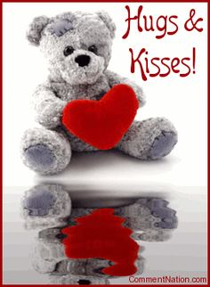 """Wish your sweetie a happy anniversary with this adorable animated graphic. The picture shows a cute teddy bear holding a red heart reflected in an animated pool. The comment reads """"Happy Anniversary! Teddy Bear Images, Teddy Bear Pictures, Teddy Bear Hug, Cute Teddy Bears, Bear Hugs, Photo Ours, Hug Images, Happy Anniversary Wishes, Happy Wishes"""