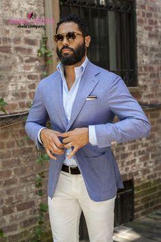 navy blazor white pants groom - Google Search