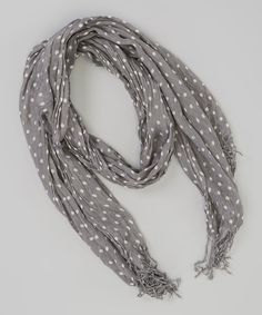 Another great find on #zulily! Gray & White Polka Dot Scarf by Fab Flowerishes #zulilyfinds
