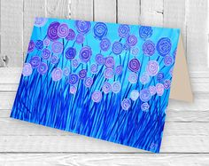 Lilac and blue abstract flowers blank greeting card by artist Louise Mead