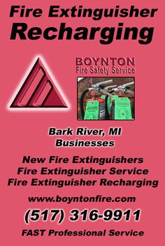 Fire Extinguisher Recharging Bark River Township, MI (517) 316-9911 Local Michigan Businesses Discover the Complete Fire Protection Source.  We're Boynton Fire Safety Service.. Call us today!