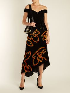 Click here to buy Peter Pilotto Floral-chenille asymmetric velvet skirt at MATCHESFASHION.COM