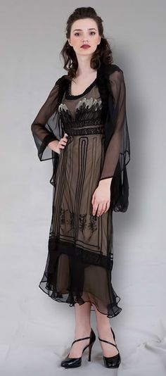 """love the apron-like detail of this dress.  not crazy about the top.  maybe just a strapless w/ the bottom of dress & tea-stained color; then have a beautiful shawl.  The empire style dress styled as la belle epoque """"Black Swan"""" line"""