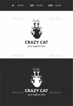 Crazy Cat Logo Design Template - Symbols Logo Templates Vector EPS, AI Illustrator, CorelDraw CDR. Download here: https://graphicriver.net/item/crazy-cat/9721575?ref=yinkira