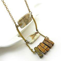 Rustic gemstone necklace in beige brown by osofreejewellery