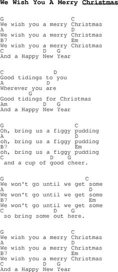 Christmas Songs and Carols lyrics with chords for guitar banjo for We Wish You