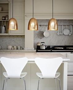 Copper Design Ideas Home Décor for Fall : Sleek Modern Design Lamp And White Chair For Kitchen Decoration With Copper Pendant Lamps And Marble Kitchen Islands Also White Modern Seats Also Marble Backsplash Ideas Interior Modern, Home Interior, Kitchen Interior, New Kitchen, Kitchen Decor, Gold Kitchen, Neutral Kitchen, Kitchen Pendants, Space Kitchen