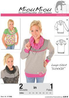 Schnittmuster Nähanleitung Loop Shirt V1045 von Miou Miou Schnittmuster und vieles mehr... auf DaWanda.com