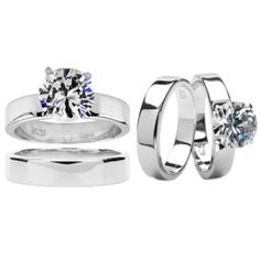 I'm learning all about Emitations Ashlynn's Polished CZ Solitaire Wedding Ring Set at @Influenster!