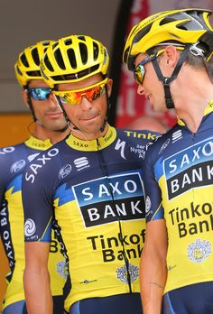 Daniel Bennati,Alberto Contador & Nicolas Roche of Saxobank Tinkoff