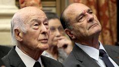 Valéry Giscard d'Estaing et Jacques Chirac en mars 2010, au Conseil Constitutionnel.