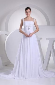 Straps Elegant Bridal Gown - Order Link: http://www.theweddingdresses.com/straps-elegant-bridal-gown-twdn6305.html - Embellishments: Ruching , Appliques; Length: Court Train; Fabric: Chiffon; Waist: Natural - Price: 166.99USD
