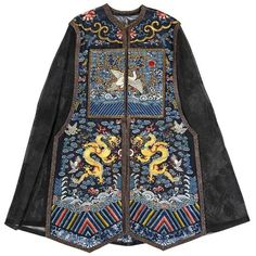 An embroidered gauze vest for the wife of an official, xia pei. Photo Bonhams The black silk gauze ground. Thai Fashion, Look Fashion, 90s Fashion, Asian Style, Chinese Style, Traditional Chinese, Dynasty Clothing, Folk Costume, Costumes