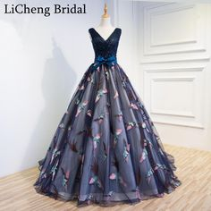 Find More Prom Dresses Information about Sexy deep V neck chiffon prom dress long sexy flower print beadings prom dress long with train ball gown  vestido longo 2017,High Quality beaded lace dress,China beaded ball gown wedding dresses Suppliers, Cheap beaded neck dress from SuZhou F&M Wedding Dress Co.,Ltd on Aliexpress.com