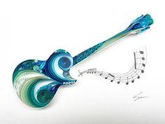 Arte de papel tubulares: Gibson Les Paul por SenaRuna en Etsy