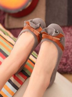New Style Lotus Leaf Bowknot Round Head Flat Pump