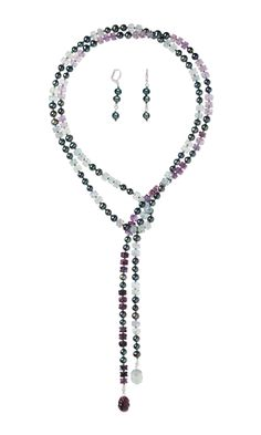Jewelry Design - Lariat-Style Necklace and Earring Set with Rainbow Fluorite Gemstone Beads, Cultured Freshwater Pearls and Dyna-Mites™ Seed Beads - Fire Mountain Gems and Beads
