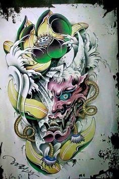 Kết quả hình ảnh cho skull samurai oriental Hannya Mask Tattoo, Hanya Tattoo, Japanese Demon Tattoo, Japanese Sleeve Tattoos, Tatoo Art, Body Art Tattoos, Tattoo Sketches, Tattoo Drawings, Hannya Maske