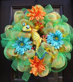 Deco Mesh Spring Wreaths Colorful Spring Wreath by LuxeWreaths, $124.00