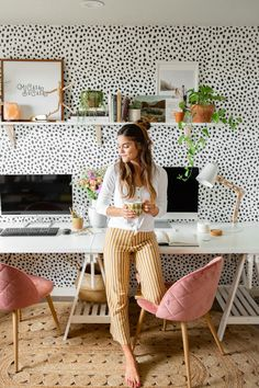 Spotty Home Office Makeover – Mary Lauren Home Office Shelves, Office Organization At Work, Home Office Design, Home Office Decor, Home Decor, Office Designs, Office Wallpaper, Cool Office Space, Teen Bedroom Designs