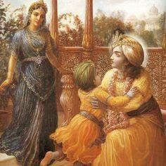 Rukmini and Krishna Krishna Leela, Radha Krishna Love, Hare Krishna, Iskcon Krishna, Srila Prabhupada, Lord Krishna Images, Lord Vishnu, God Pictures, Hindu Art