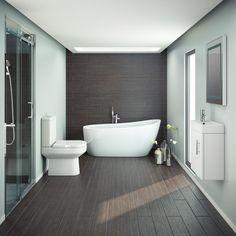 Miami Modern Bathroom Suite with Slipper Style Freestanding Bath