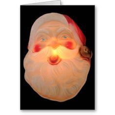 Vintage Santa head lit up card #SantaClausChristmascard, #vintageSantacard, #holidaycard